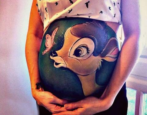 Pintura Barriga grávida  bambi