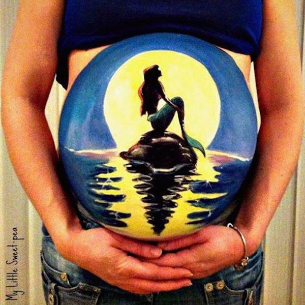 pinturas-barrigas-de-gravidas pequena sereia